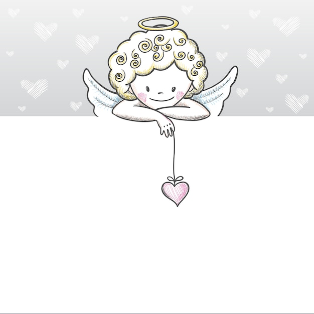 Cute valentines day card with sketch cupid Premium Vector
