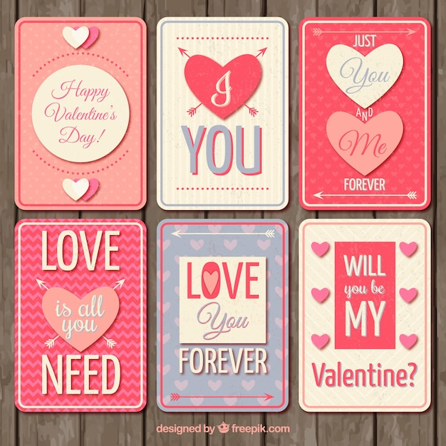 Cute Valentines Day Cards In Retro Style Free Vector
