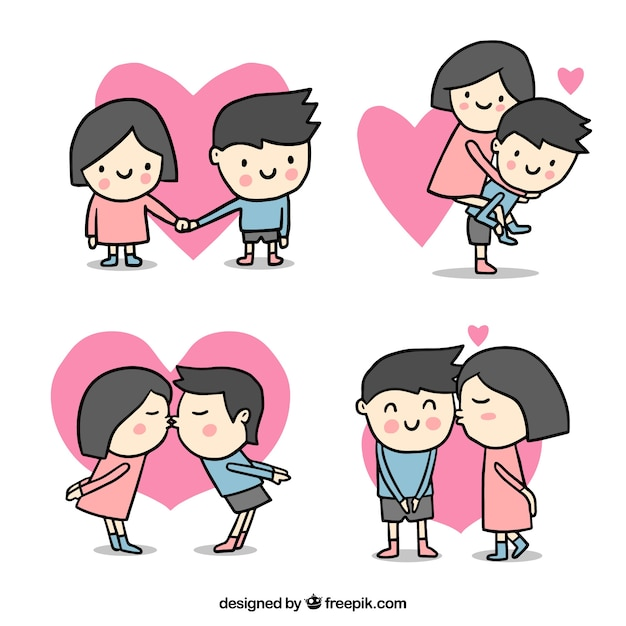 Cute Valentines Day Couple Collection Vector Free Download