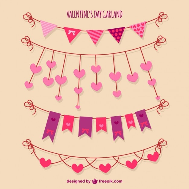 cute valentines day garlands vector | free download, Ideas