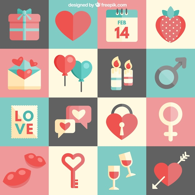 Cute Valentines Day Icons Vector Free Download