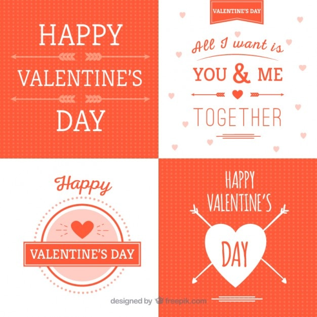 Cute Valentines Day Labels In Orange Color Vector Free Download