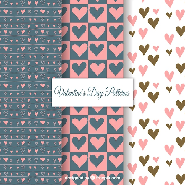 Cute valentines day pattern set Free Vector