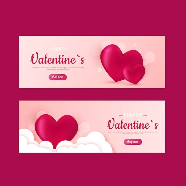 Cute valentines day sale banners Free Vector
