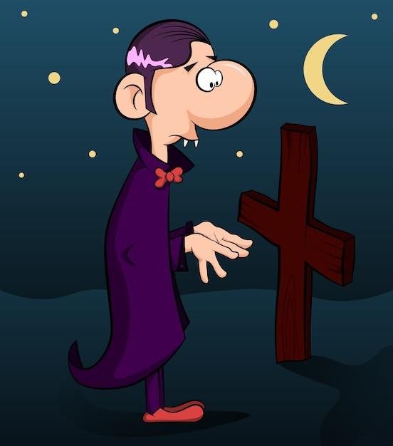 귀여운 뱀파이어가 십자가를 본다. 프리미엄 벡터