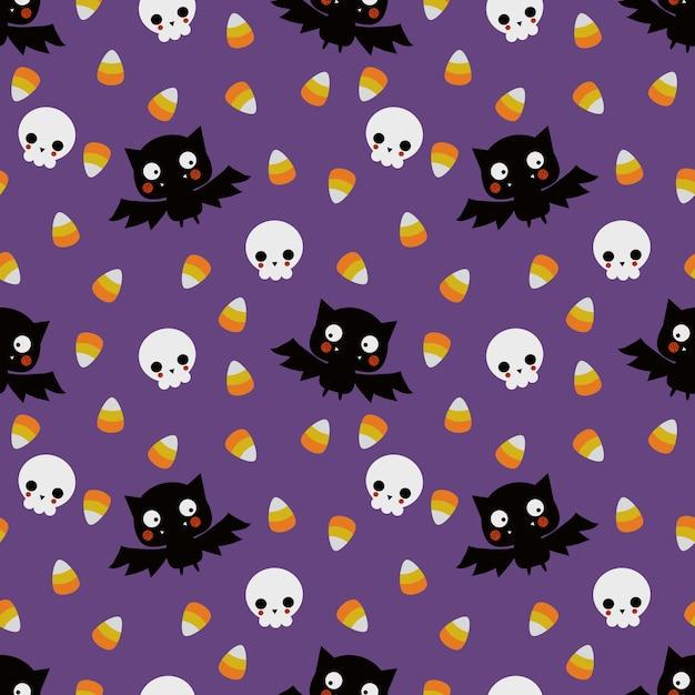 Cute vampire and skull  seamless pattern Premium Vector