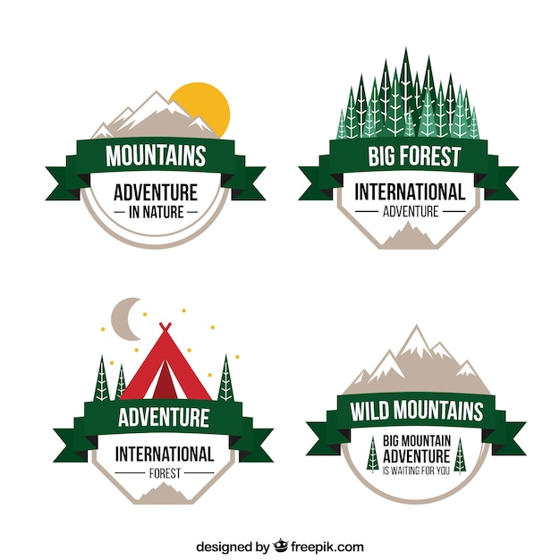 Cute variety of adventures badges with a green ribbon Vector | Free