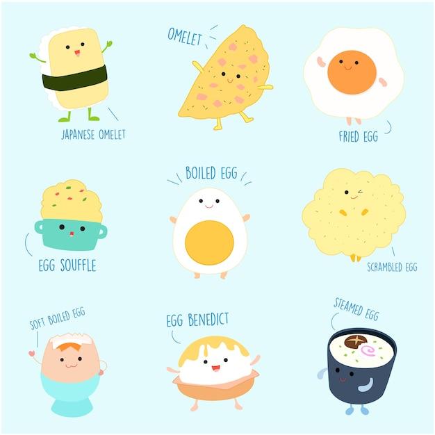 卵の漫画のベクトル図からかわいい品種料理。 Premiumベクター