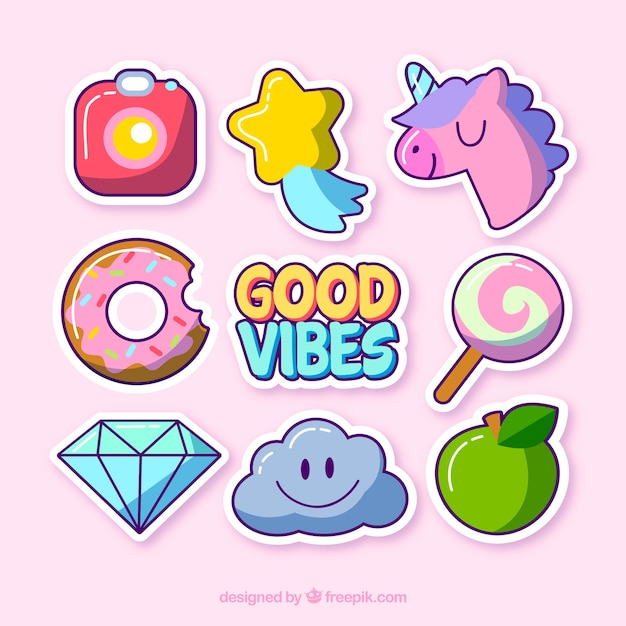 Cute Variety Of Funny Stickers Vector Free Download