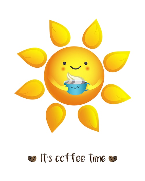 Cute vector illustration of sun drinking from cup of coffee with sign it`s coffee time. te Premium Vector