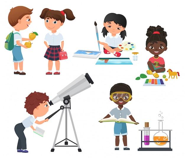 Cute vector pupils activity in school set. little school kids set. Premium Vector
