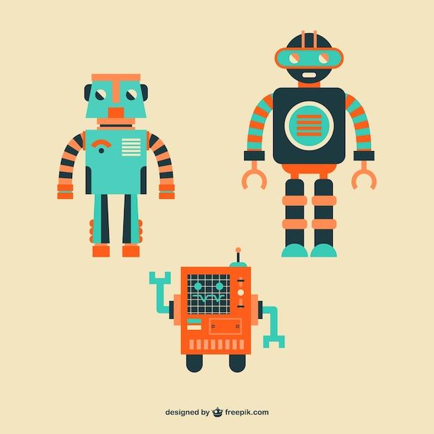 cute vector robots set vector free download