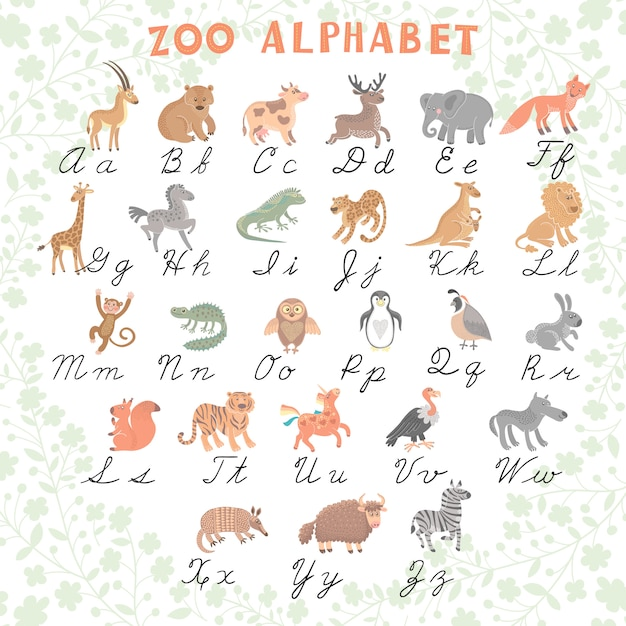 Cute vector zoo alphabet. funny cartoon animals. letters. learn to read and  write. Premium Vector