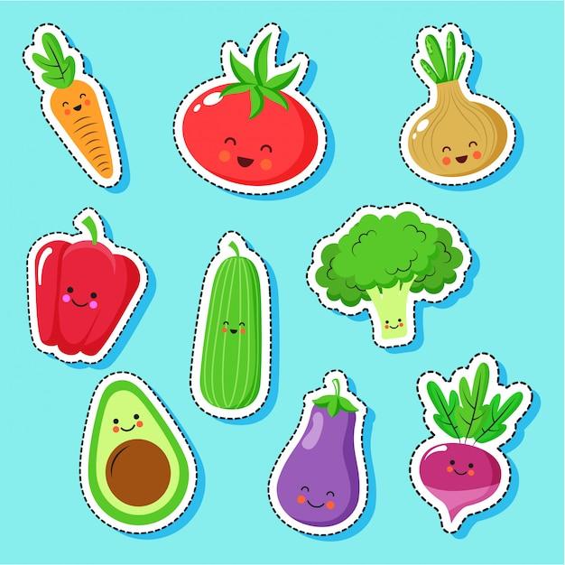 Cute vegetables cartoons characters Premium Vector