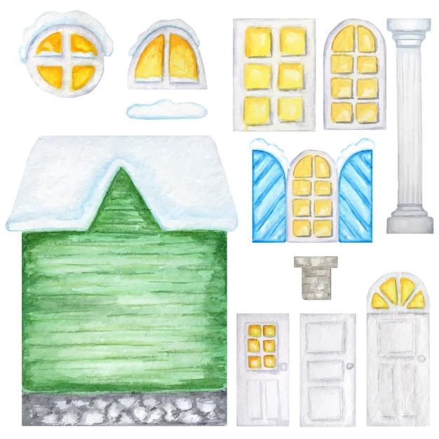 かわいい村の温室、木製の窓、白い背景の上のドアコンストラクタ。ファンタジーイラスト。水彩画の要素セットあなたの家のデザインを作成するのに最適です。 Premiumベクター