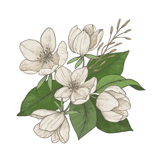 Cute vingage floral bouquet Free Vector