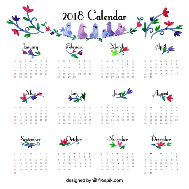 Cute Vintage 2018 Calendar Template Vector Free Download