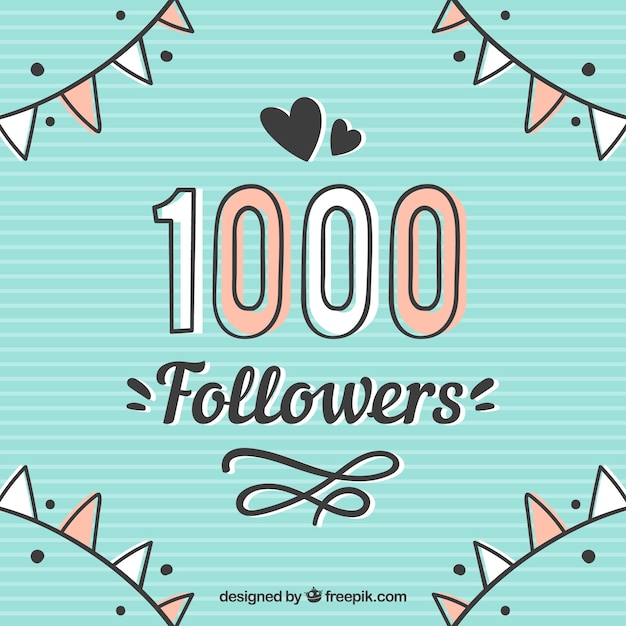 Cute vintage background of 1k followers