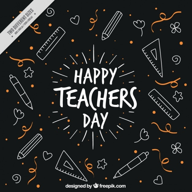 Cute vintage background with drawings of\ teacher\'s day