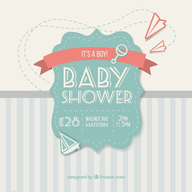 Cute Vintage Card For Baby Shower Vector Free Download