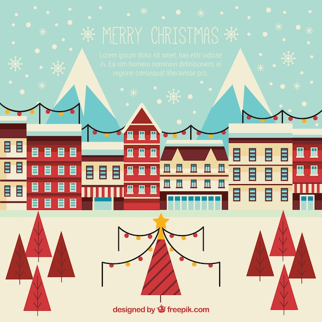Cute vintage city christmas background