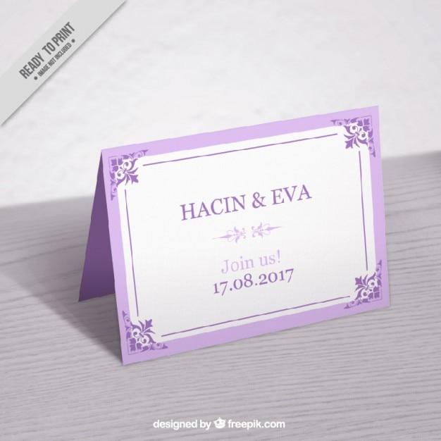 Cute vintage lilac wedding card mockup Free Vector
