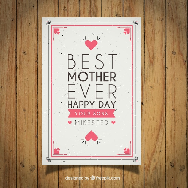 Cute vintage mother\'s day greeting with emotive\ phrase