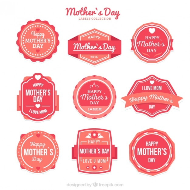 Cute Vintage Mother'S Day Label Collection Vector | Free Download