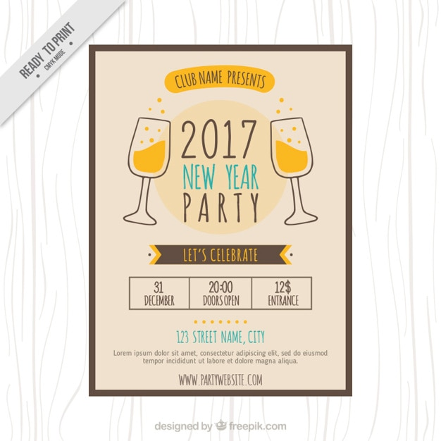 Cute vintage new year party brochure | Stock Images Page | Everypixel