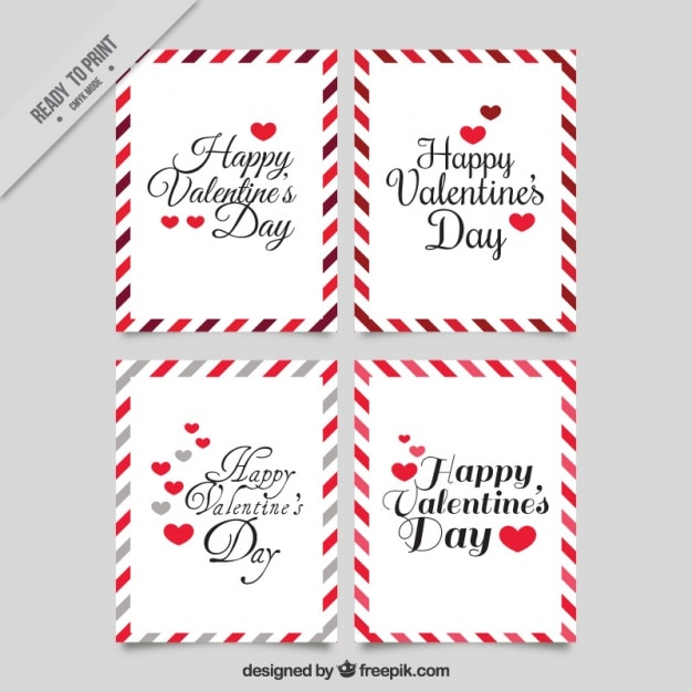 Cute Vintage Valentines Cards With Decorative Borders Vector Free