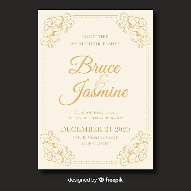 Cute vintage wedding invitation template Free Vector