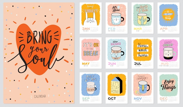 Cute wall calendar. 2021 yearly planner with all months. good organizer and schedule. trendy illustration Premium Vector
