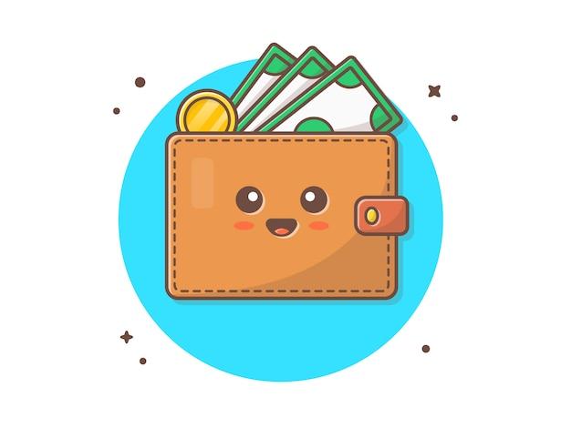 Cute wallet mascot vector icon illustration Premium Vector