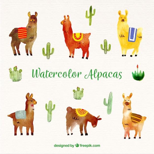 Cute watercolor alpaca background Free Vector
