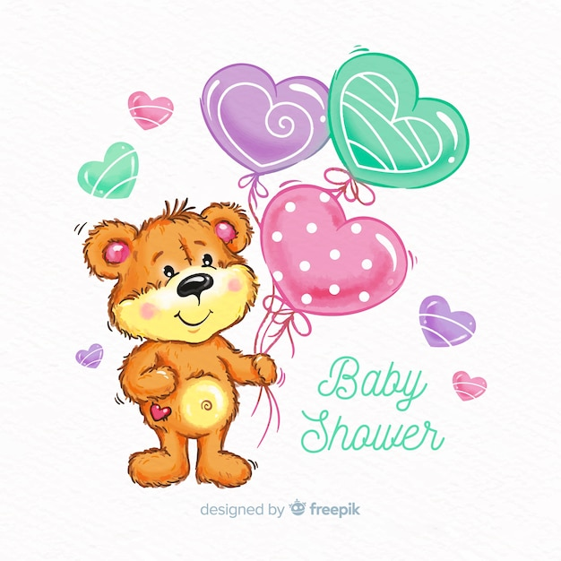 Cute watercolor baby shower design Free Vector