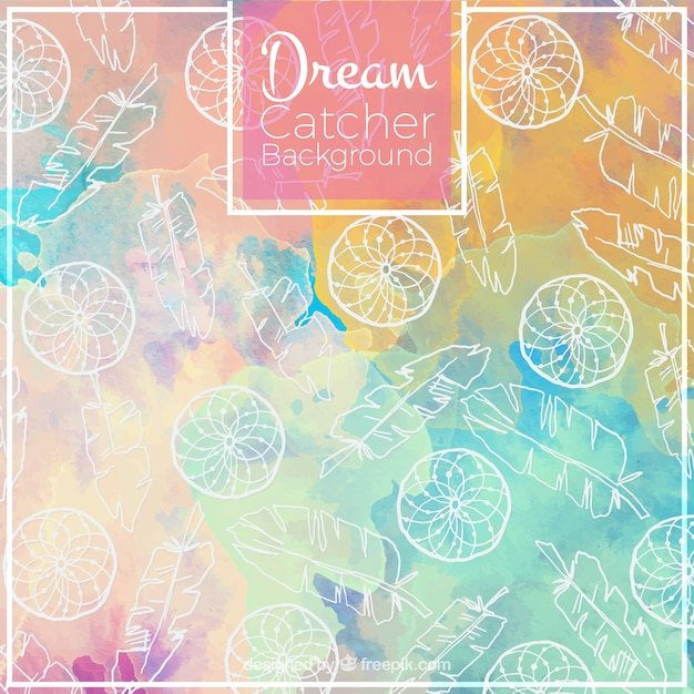 Cute watercolor background with hand drawn dream catchers Free Vector