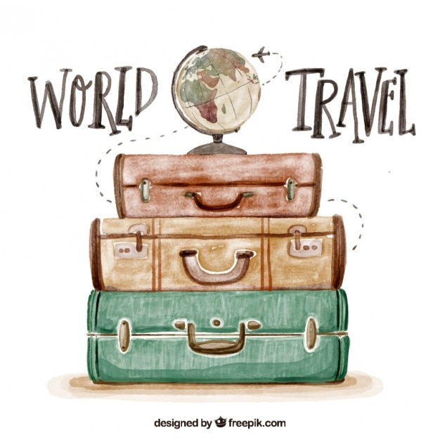 Cute watercolor background with luggage Free Vector