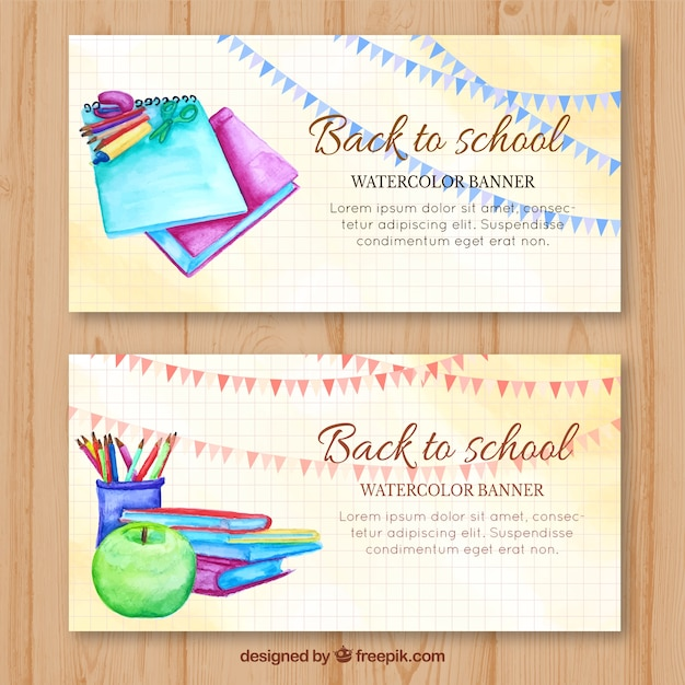 Cute watercolor banner for back to school