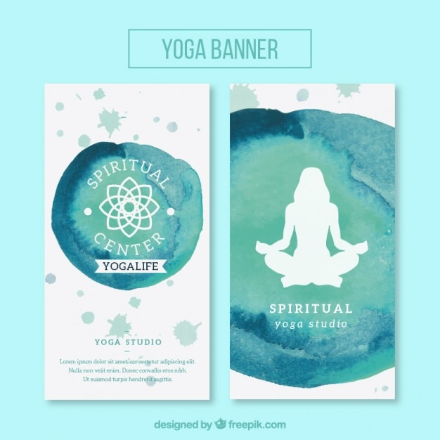 Cute watercolor banners of yoga with symbol and\ silhouette
