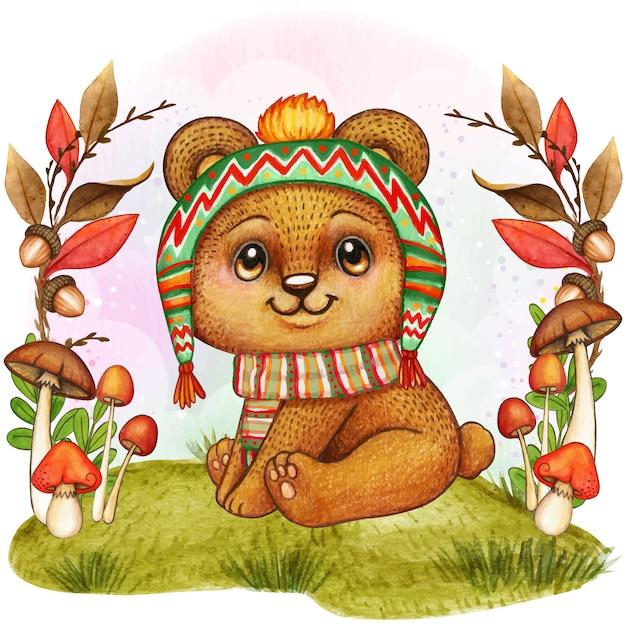 귀여운 수채화 곰 아기 그림 프리미엄 벡터