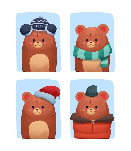 冬の服でかわいい水彩画クマ Premiumベクター