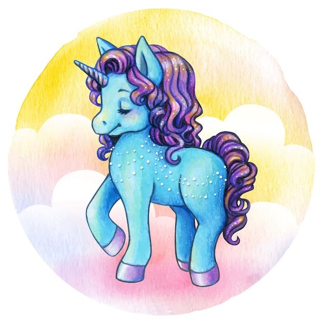 Симпатичная синяя принцесса единорога Premium векторы
