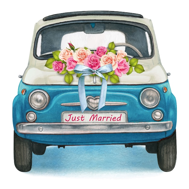 Cute watercolor blue and white shiny vintage car, wedding day Premium Vector