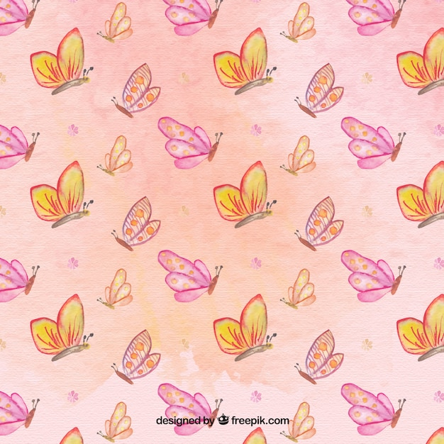 Cute Watercolor Butterflies Pattern Free Vector