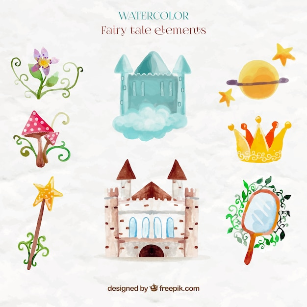Cute watercolor castle and fairy tale elements Free Vector