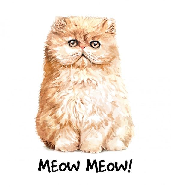 Cute watercolor cat illustration. t-shirt print. Premium Vector