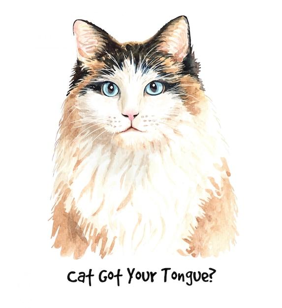 Cute watercolor cat illustration. Premium Vector