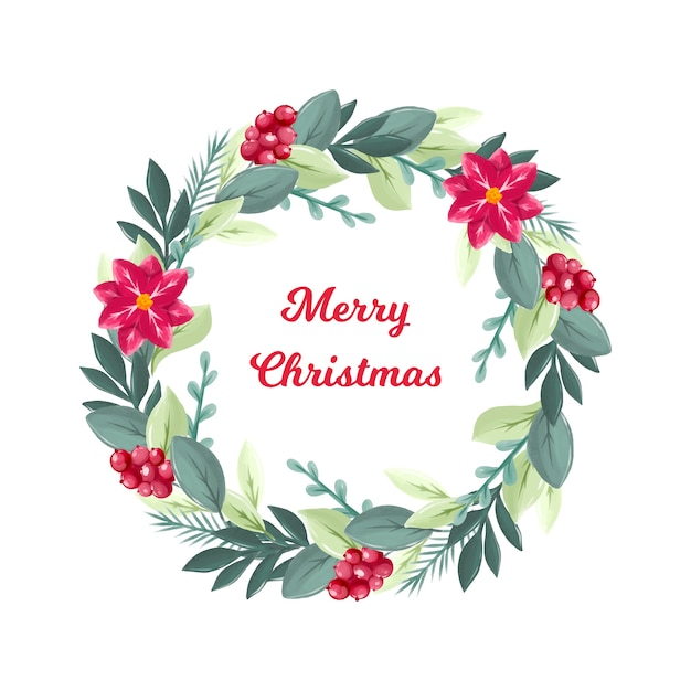 Cute watercolor christmas wreath Free Vector