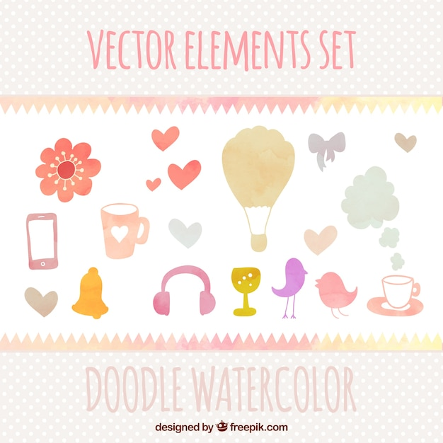 Cute watercolor doodles Free Vector