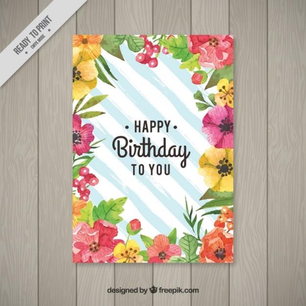 Cute watercolor floral birthday card vector free download cute watercolor floral birthday card free vector bookmarktalkfo Image collections